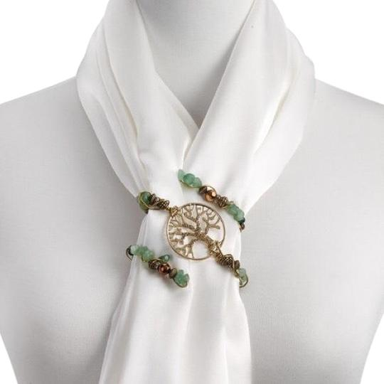 Preload https://img-static.tradesy.com/item/25570195/gold-and-green-goldgreen-beaded-scarf-twist-tree-of-life-0-1-540-540.jpg