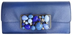 Prada Prada Blue Saffiano Leather Long Jeweled Zippy Wallet Purse