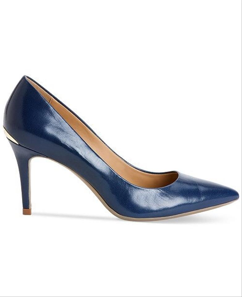 d7dae714587f Calvin Klein Navy Gayle Leather Pointed-toe Pumps Size US 7 Regular ...
