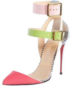 Christian Louboutin Strappy Stripes Buckled Pvc Multi Pink, Blue, Green, White, Black Sandals