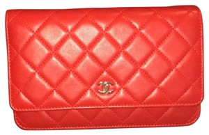 Chanel red and gold chain Clutch