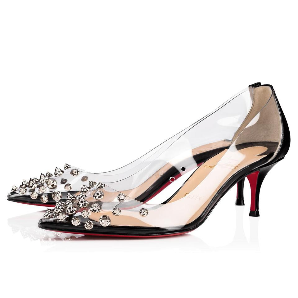 6b86c214d23 Christian Louboutin Black/Silver Collaclou 55 Pvc Spiked Studded Kitten  Heel Pumps Size EU 36.5 (Approx. US 6.5) Regular (M, B) 23% off retail