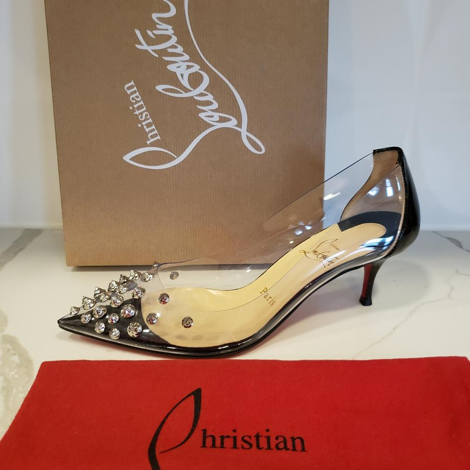 04a2868fcc0 Christian Louboutin Black/Silver Collaclou 55 Pvc Spiked Studded Kitten  Heel Pumps Size EU 36.5 (Approx. US 6.5) Regular (M, B) 23% off retail