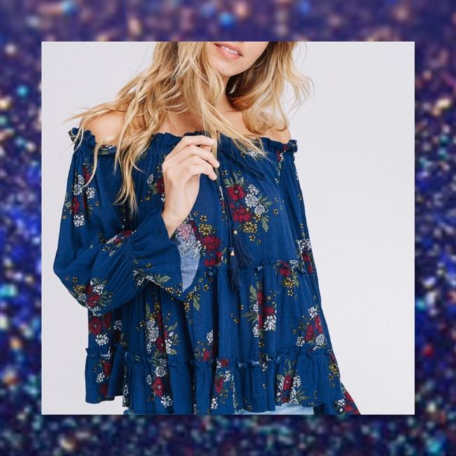 Other Bell Sleeve Off Shoulder Bohemian Ruffle Loose Tunic Image 3