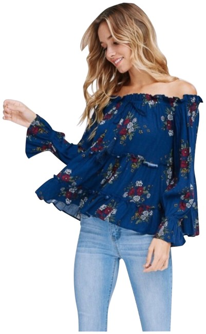 Preload https://img-static.tradesy.com/item/25570479/navy-floral-new-boho-off-shoulder-tunic-size-4-s-0-1-650-650.jpg