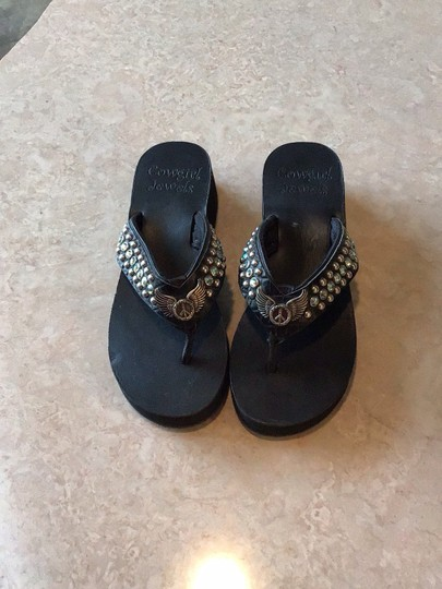 Cowgirl Jewels Black Sandals Image 1