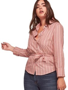 Reformation Button Down Shirt Red Striped