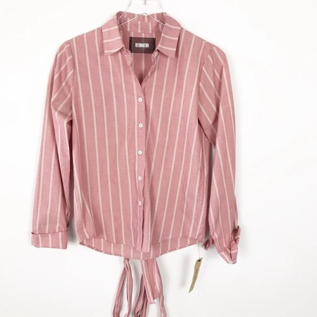 Reformation Button Down Shirt Red Striped Image 1
