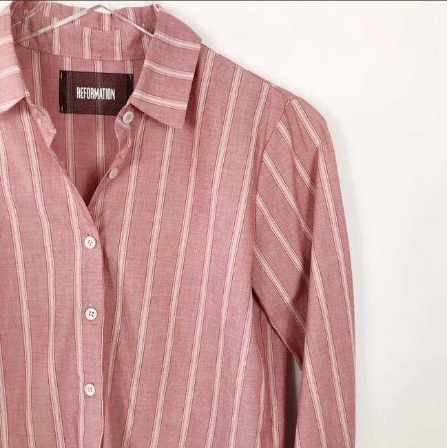 Reformation Button Down Shirt Red Striped Image 2