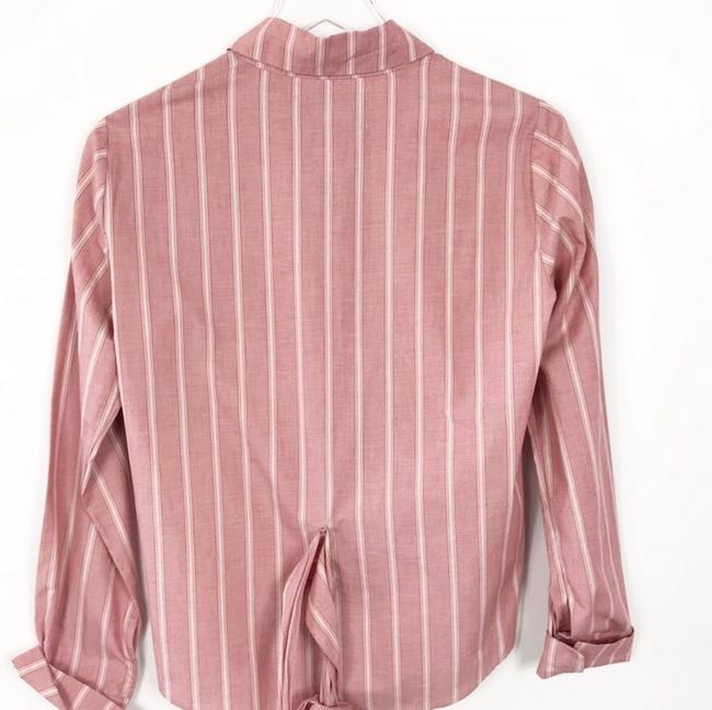 Reformation Button Down Shirt Red Striped Image 3