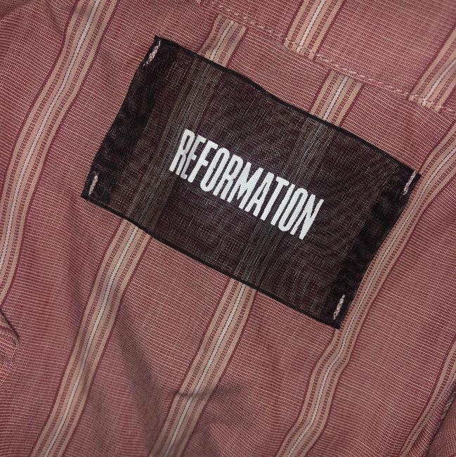 Reformation Button Down Shirt Red Striped Image 4