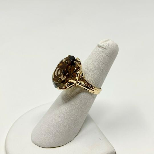 Other 14k Yellow Gold Oval Cut 12.8ct Smoky Quartz Cocktail Ring Size 5 Image 5