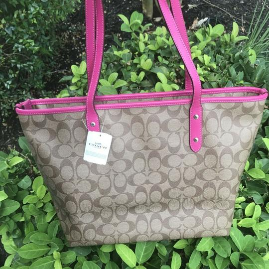 Coach Tote in Khaki Pink Image 1
