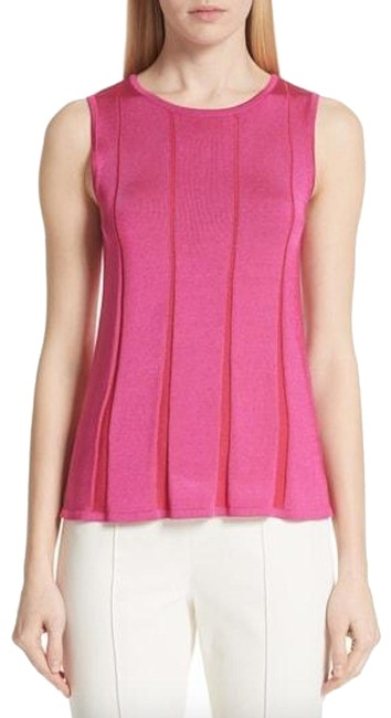 Preload https://img-static.tradesy.com/item/25570763/st-john-fuchsia-plaited-fit-flare-sleeveless-shell-pink-sweater-0-1-650-650.jpg