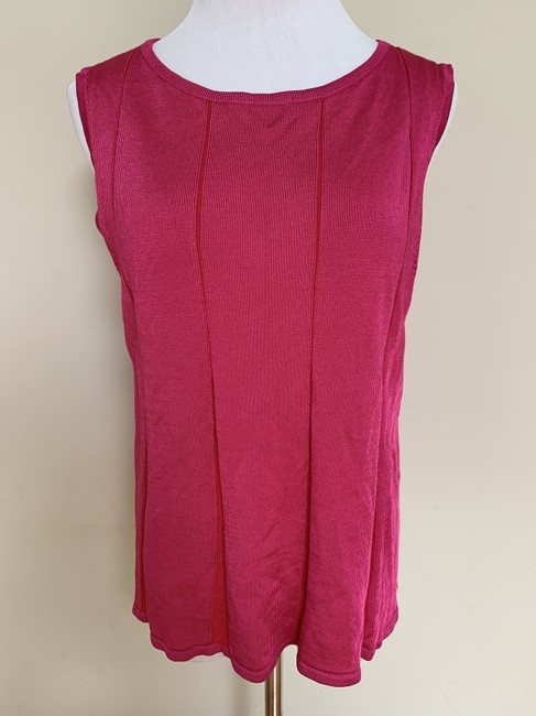 St. John Fit Flare Plaited Sleeveless Sweater Image 1