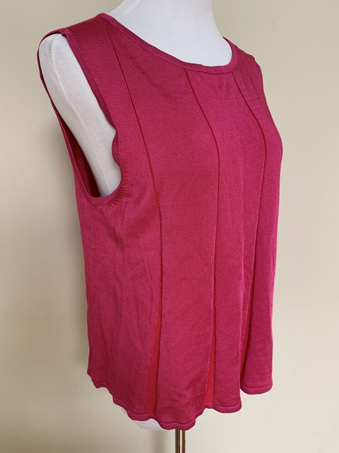 St. John Fit Flare Plaited Sleeveless Sweater Image 2