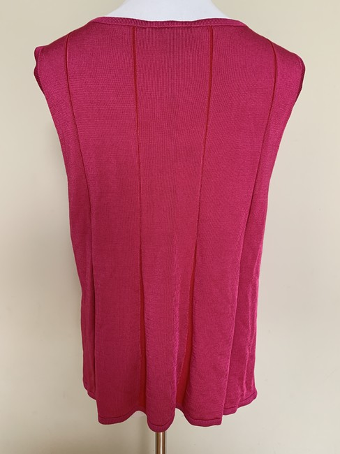 St. John Fit Flare Plaited Sleeveless Sweater Image 3