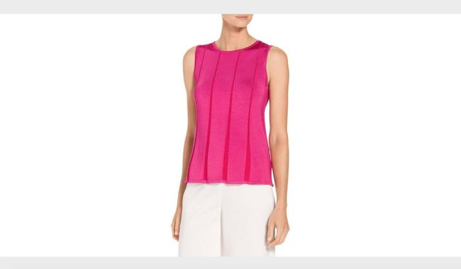 St. John Fit Flare Plaited Sleeveless Sweater Image 4
