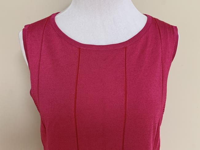 St. John Fit Flare Plaited Sleeveless Sweater Image 5