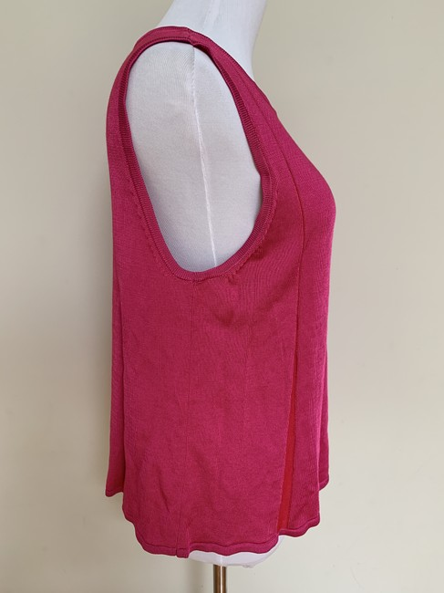 St. John Fit Flare Plaited Sleeveless Sweater Image 7