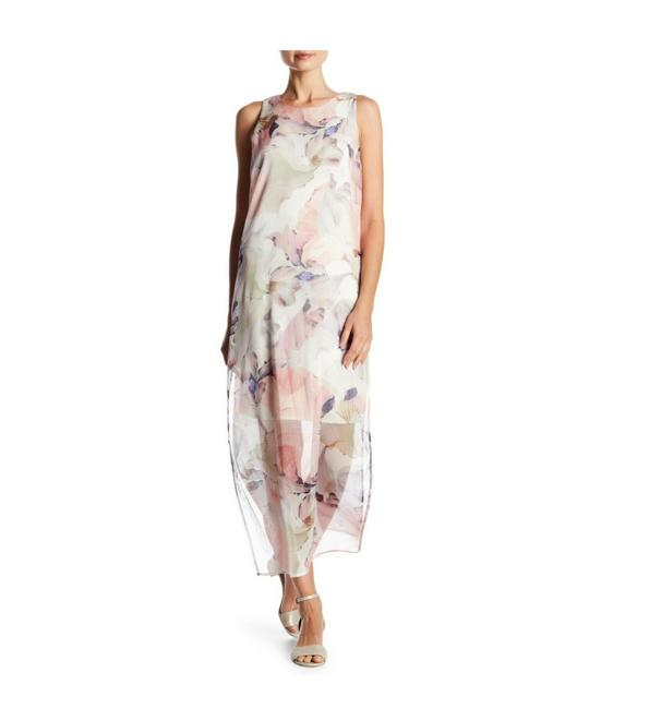 Item - Pink Ivory Diffused Blooms Underlayer Sleeveless Floral Long Casual Maxi Dress Size 2 (XS)