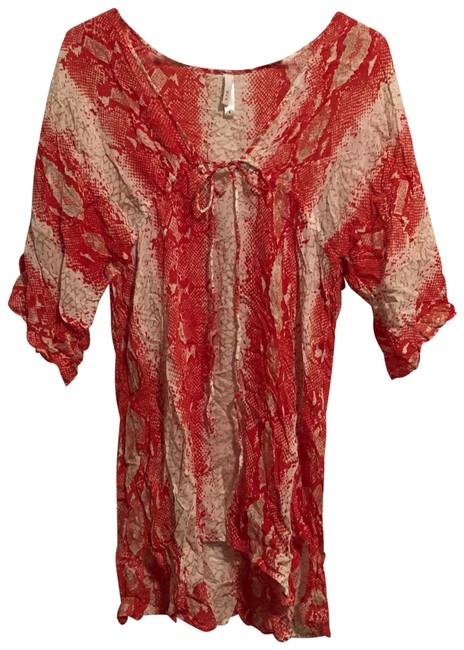 Item - Red Snakeskin Print Cover-up/Sarong Size 4 (S)