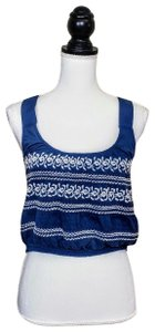 Anthropologie Festival Boho Cropped Knit Embroidered Top Blue, White