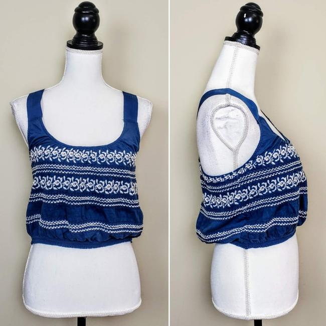 Anthropologie Festival Boho Cropped Knit Embroidered Top Blue, White Image 1