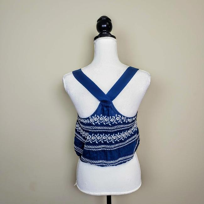 Anthropologie Festival Boho Cropped Knit Embroidered Top Blue, White Image 2