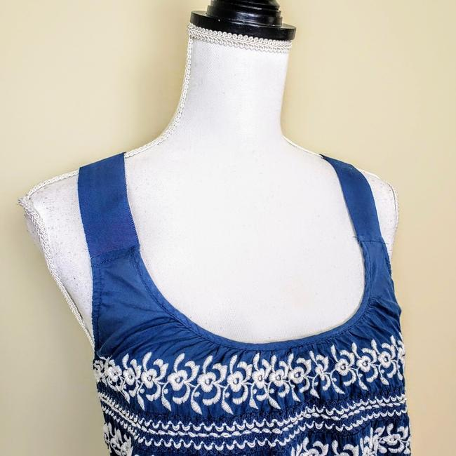 Anthropologie Festival Boho Cropped Knit Embroidered Top Blue, White Image 3
