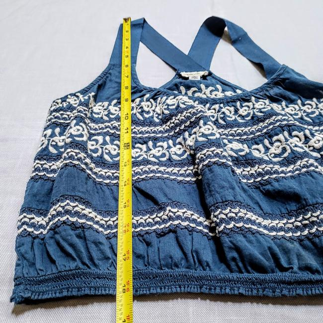 Anthropologie Festival Boho Cropped Knit Embroidered Top Blue, White Image 8