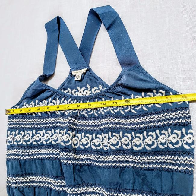 Anthropologie Festival Boho Cropped Knit Embroidered Top Blue, White Image 9