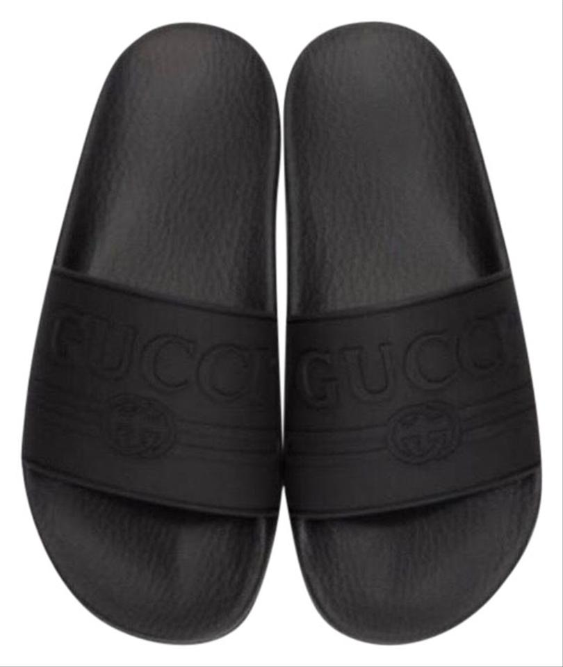 7c6a84fa0 Gucci Logo Embossed Rubber Slides Sandals Size EU 39 (Approx. US 9 ...