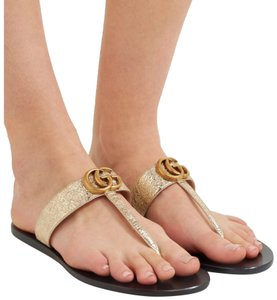 Gold Gucci Sandals Flat Up to 90% off