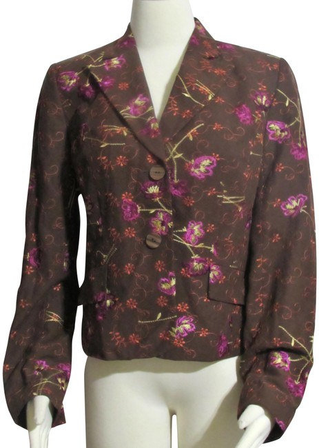Item - Brown New Silk Floral Lined Jacket Blazer Size 6 (S)