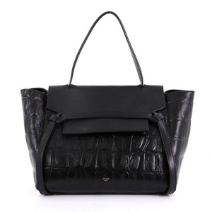 Céline Belt Crocodile Satchel in black