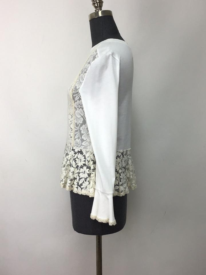 03912de8 See by Chloé Ivory Jersey Cotton and Lace Bell Sleeve Tee Shirt Size 2 (XS)