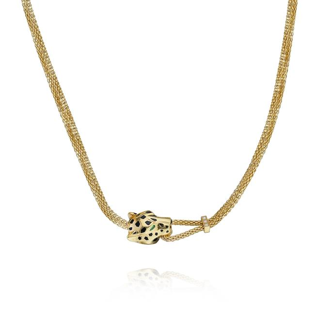 Item - Yellow Gold Panthere Head Mesh Chain Necklace