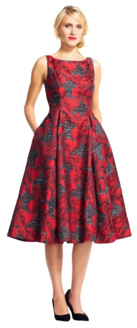 Item - Red Orchid/Black Print Midi with Deep V-back Mid-length Cocktail Dress Size 8 (M)