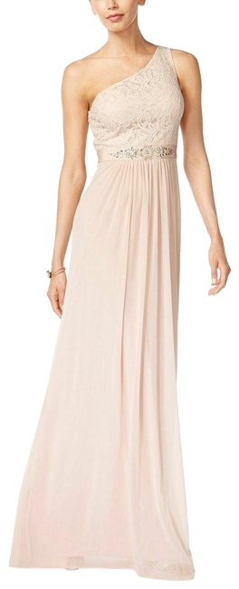 Item - Beige Women Pink One Shoulder Beaded Lace Gown Long Cocktail Dress Size 10 (M)
