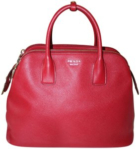 Prada Zipper Gold Hardware Pebbled Tote in Red
