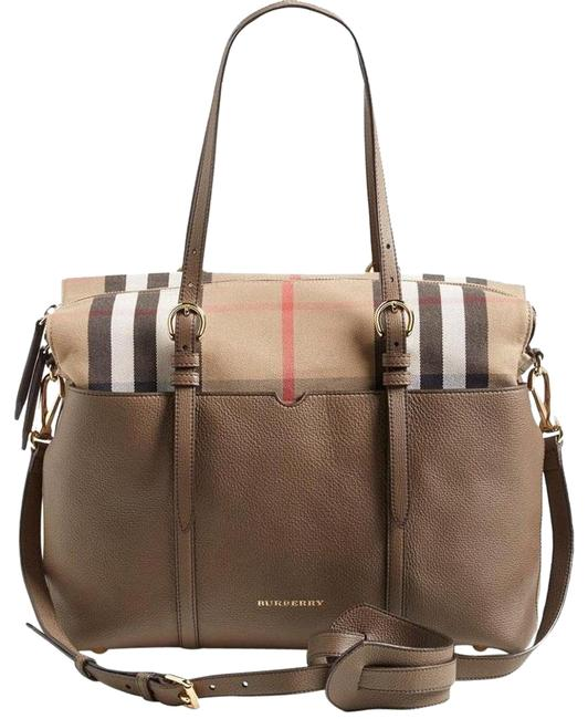 Item - Mason Taupe House Check and Leather Diaper Bag