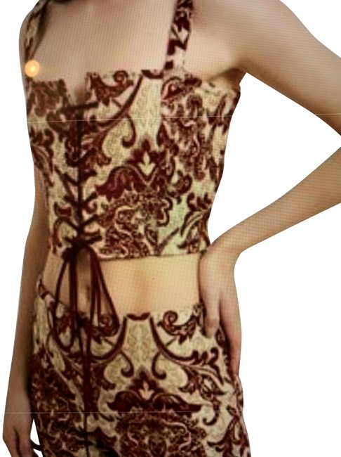 Item - Burgandy Callipygian 10619 Jacquard Gold Lace Up Corset Activewear Top Size 4 (S, 27)