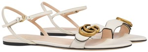 Gucci Double G Double Leather Marmont White Sandals