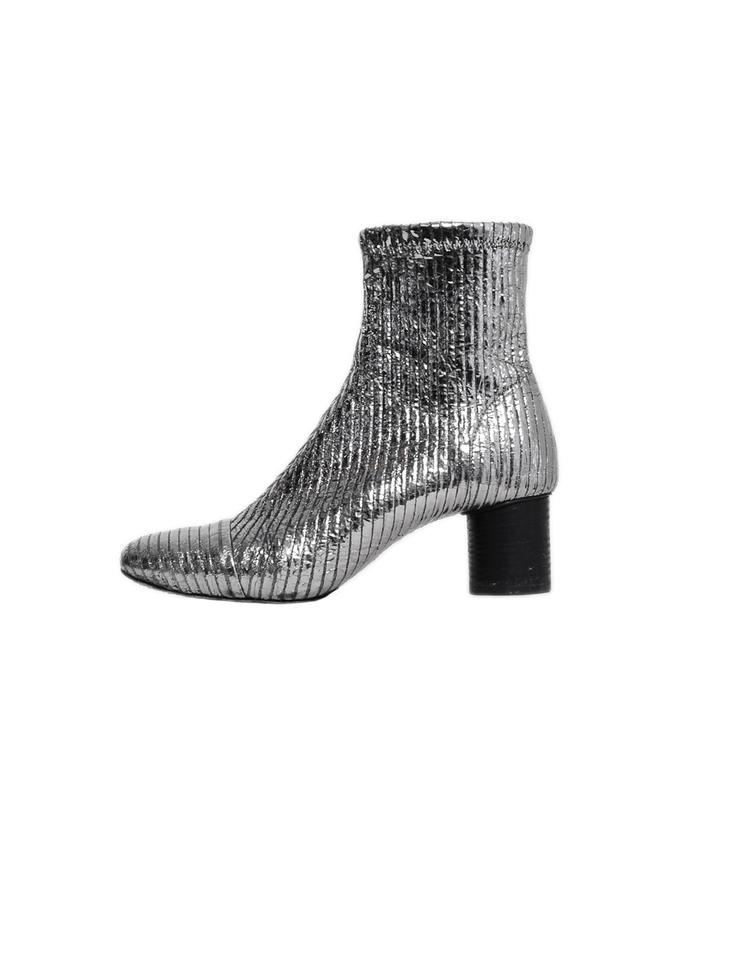 b79e3e40a56 Isabel Marant Silver Metallic Stretch Leather Dasy Boots/Booties ...