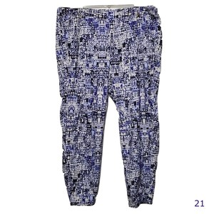 Joe Fresh Lounge Casual Elastic Waist Pockets Relaxed Pants Purple and White