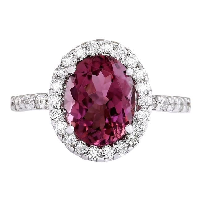 Item - Pink 3.02 Ctw Natural Tourmaline and Diamond 14k Solid White Gold Ring