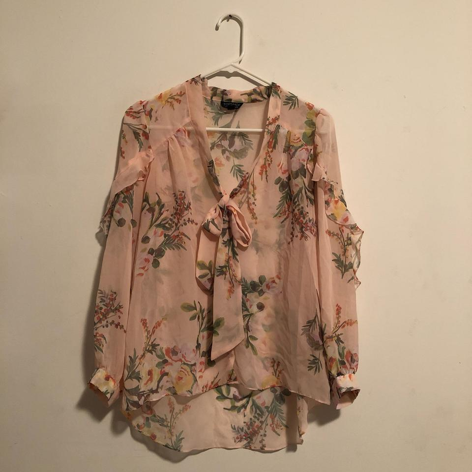 feb928c14616f3 Topshop Pink Floral Ruffle Blouse Size 2 (XS) - Tradesy