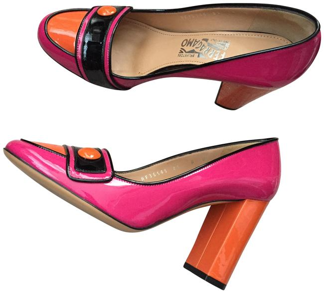 Item - Pink Orange and Black Round Toe Contrast Pumps Size EU 38 (Approx. US 8) Regular (M, B)