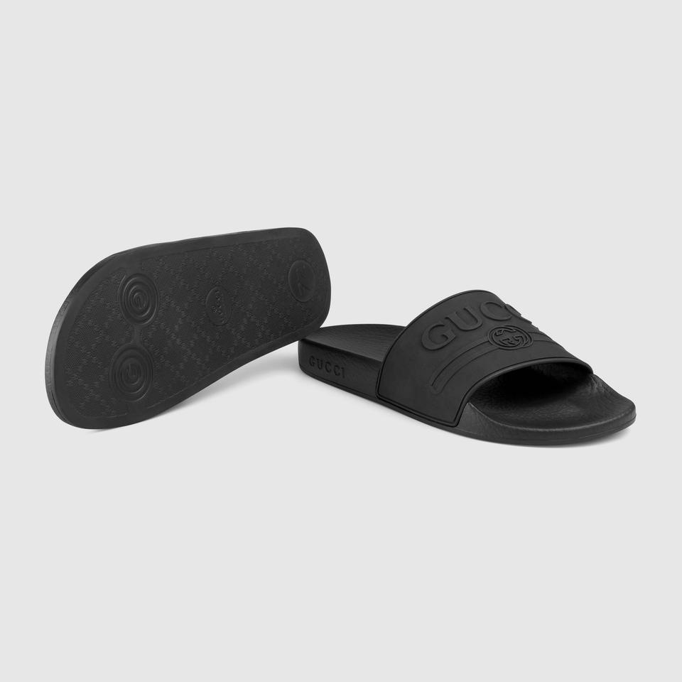 0395084f3 Gucci Black Logo Rubber Slide Sandals Size EU 37 (Approx. US 7 ...